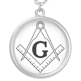 The Square and Compasses Freemasonry Symbol Round Pendant Necklace