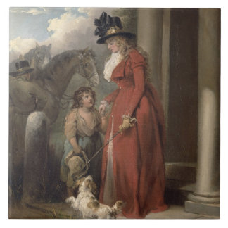 The Squire's Door, c.1790 (oil on canvas) Large Square Tile