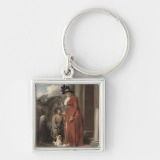 The Squire's Door, c.1790 (oil on canvas) Silver-Colored Square Key Ring