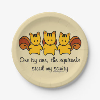 The squirrels steal my sanity 7 inch paper plate
