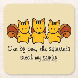 The squirrels steal my sanity square paper coaster