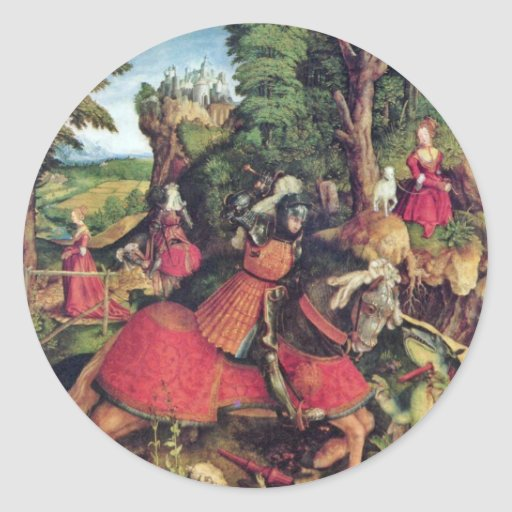 The St. George Fighting The Dragon By Beck Leonhar Round Stickers
