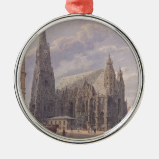 The St. Stephen's Cathedral in Vienna by Rudolf vo Silver-Colored Round Decoration