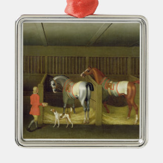The Stables and Two Famous Running Horses belongin Christmas Ornament