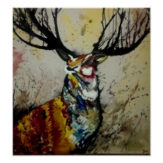The Stag Poster Print of original artwork