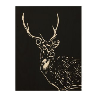 The Stag wood canvas