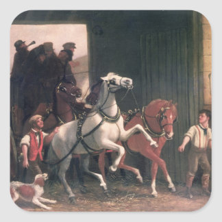 The Stage Arrives, c.1830 Square Sticker
