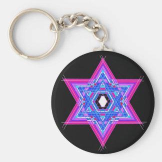The Star of David Basic Round Button Key Ring