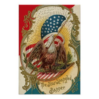 The Star Spangled Banner Eagle American Flag Print