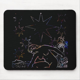 The Star Tarot Party Black Mouse Pad