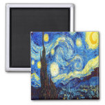 The Starry Night by Vincent van Gogh 1889 Square Magnet