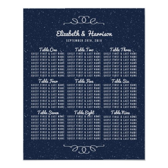 The Starry Night Wedding Collection Seating Chart Poster