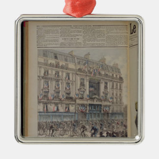 The start of the Paris-Brest bicycle race Silver-Colored Square Decoration