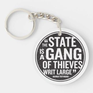 The State Single-Sided Round Acrylic Key Ring