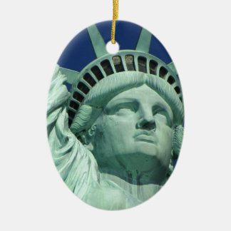The Statue Of Liberty At New York City Ceramic Oval Decoration