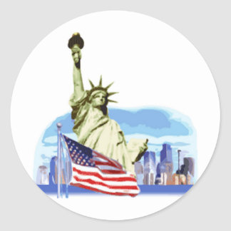 The statue of liberty in New York city Classic Round Sticker