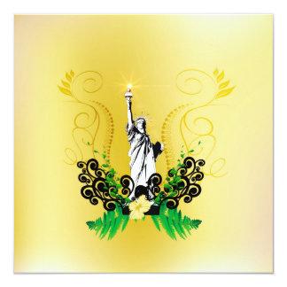 The Statue of Liberty 5.25x5.25 Square Paper Invitation Card