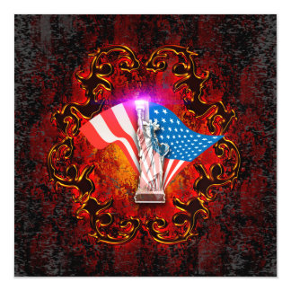 The Statue of Liberty with decorative floral elmen Magnetic Invitations