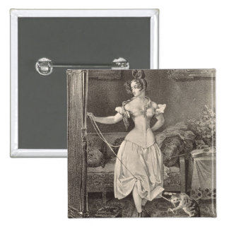 The Stay-lace, engraved by Alfred Leon Lemercier ( 15 Cm Square Badge