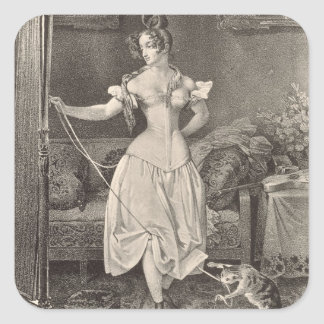 The Stay-lace, engraved by Alfred Leon Lemercier ( Square Sticker