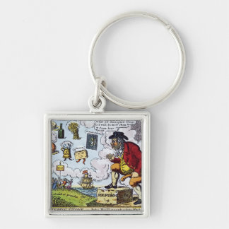 The Stepping Stone,John Bull peeping into Silver-Colored Square Key Ring