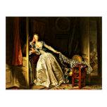The Stolen Kiss, painting by Jean-Honore Fragonard Postcard