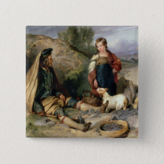 The Stone Breaker and his Daughter, 1830 15 Cm Square Badge