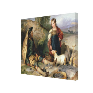 The Stone Breaker and his Daughter, 1830 Canvas Print