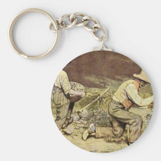 The Stone Breakers By Courbet Gustave Basic Round Button Key Ring