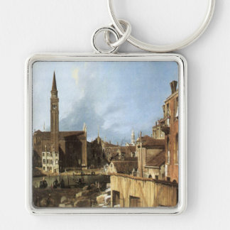 'The Stone Mason's Yard' Silver-Colored Square Key Ring