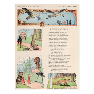 The Stork and the Fox from the Fables Postcard