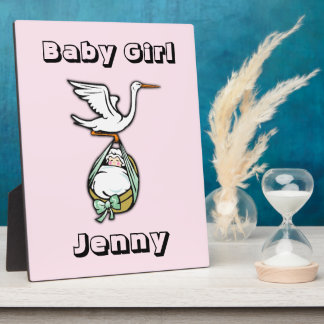 The Stork Carries a Baby Girl Plaque