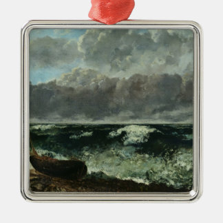 The Stormy Sea or, The Wave, 1870 Silver-Colored Square Decoration
