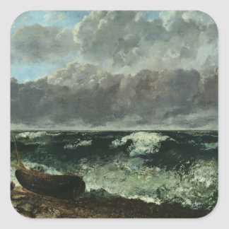 The Stormy Sea or, The Wave, 1870 Square Sticker