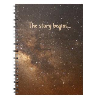 'The story begins' sky Notebooks