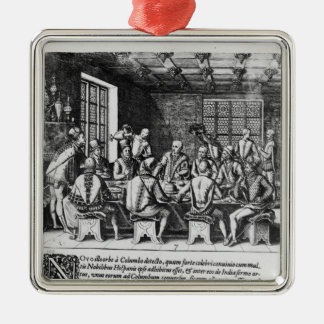 The Story of the Egg of Christopher Columbus Silver-Colored Square Decoration