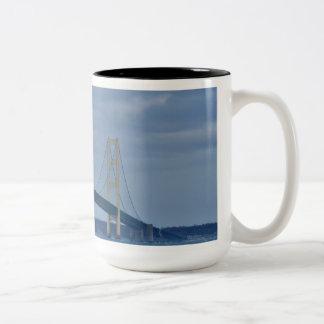 The Straights of Mackinaw Michigan Two-Tone Coffee Mug