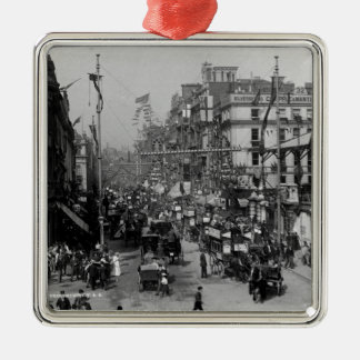 The Strand London with Jubilee Decorations Silver-Colored Square Decoration