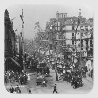 The Strand London with Jubilee Decorations Square Sticker