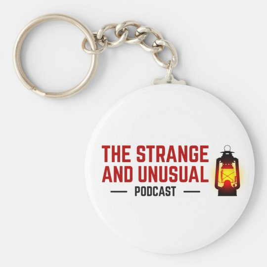 The Strange and Unusual Podcast Button Keychain