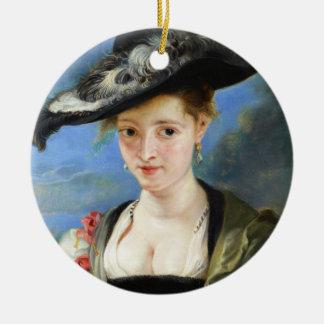 The Straw Hat Peter Paul Rubens masterpiece Round Ceramic Decoration