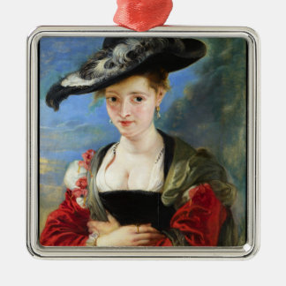 The Straw Hat Peter Paul Rubens masterpiece Silver-Colored Square Decoration