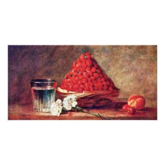 The Strawberry Basket By Chardin Jean-Baptiste Sim Customized Photo Card
