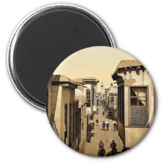 The street called straight, Damascus, Holy Land, ( 6 Cm Round Magnet