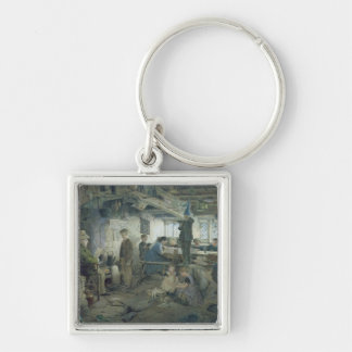 The Strict School Master, 1868 Silver-Colored Square Key Ring