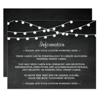 The String Lights On Chalkboard Wedding Collection 11 Cm X 14 Cm Invitation Card