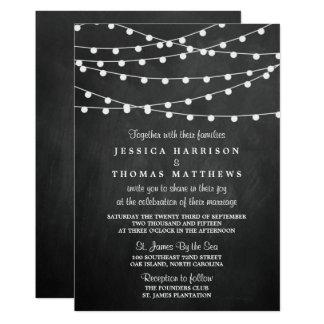 The String Lights On Chalkboard Wedding Collection 13 Cm X 18 Cm Invitation Card