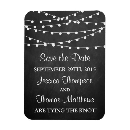 The String Lights On Chalkboard Wedding Collection Rectangular Photo Magnet