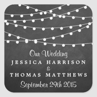 The String Lights On Chalkboard Wedding Collection Square Sticker