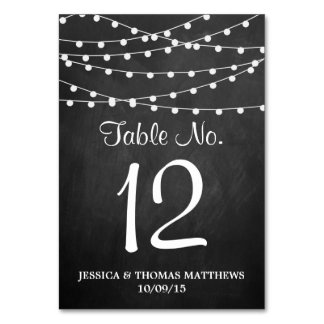 The String Lights On Chalkboard Wedding Collection Table Card